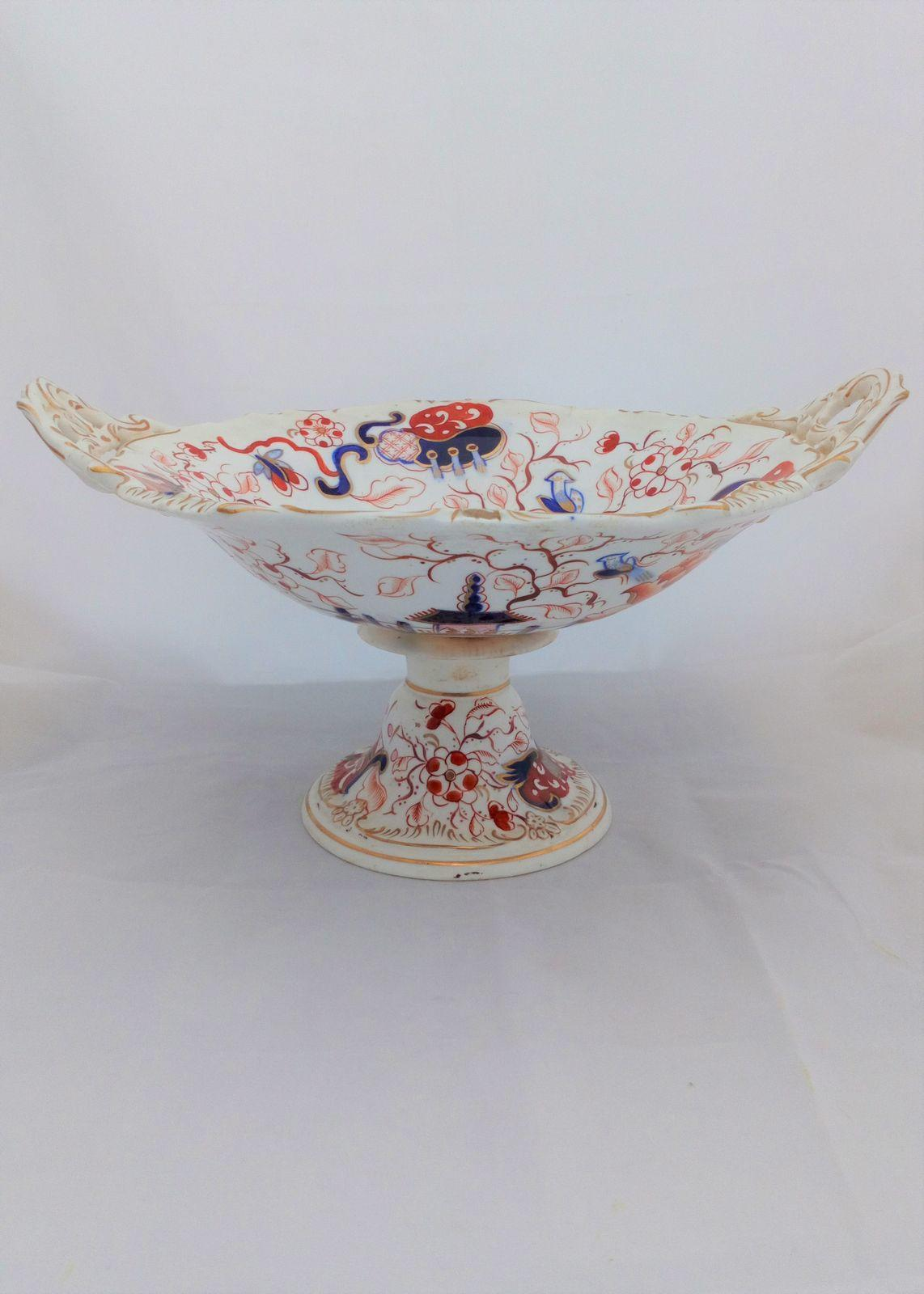 Imari Temple Bird Pattern Porcelain Centrepiece Comport  Antique Georgian c 1820