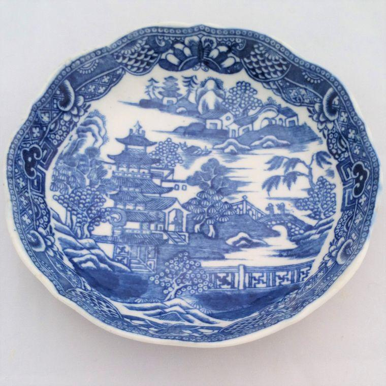 Caughley Porcelain Saucer Blue & White Printed Broseley Pattern 2 Salopian 1785