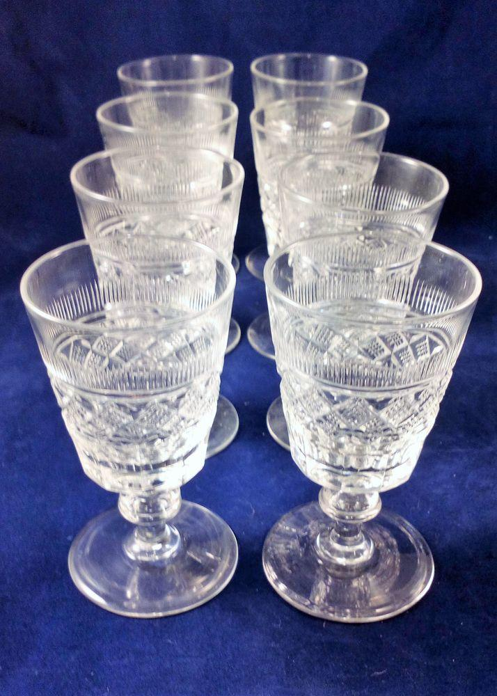 Set 8 Port Wine Glasses Cut Bucket Bowl Drum Knop Stem Edwardian Antique c 1900