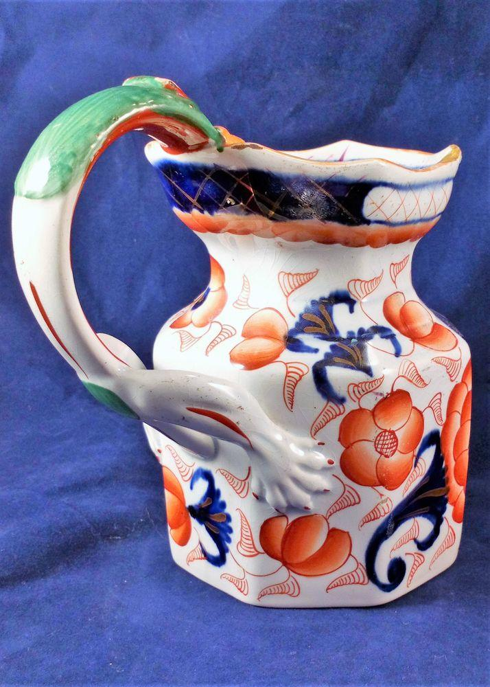 Ironstone China Jug or Pitcher Gaudy Welsh Bethesda Pattern Antique C 1825