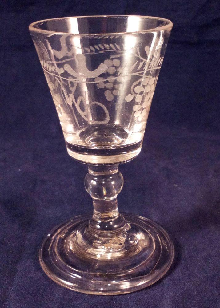 Regency Wine Glass Engraved Bucket Bowl Ball Knop Stem Folded Foot c 1810
