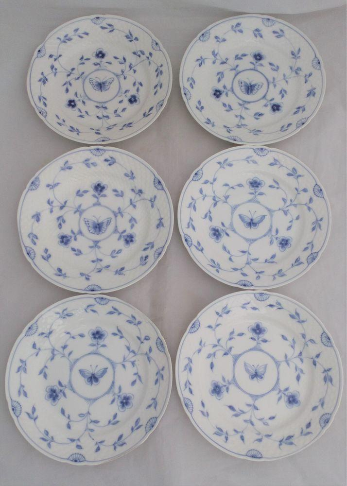 Bing and Grondahl Danish Porcelain Plates Blue and White Butterfly Pattern 1908
