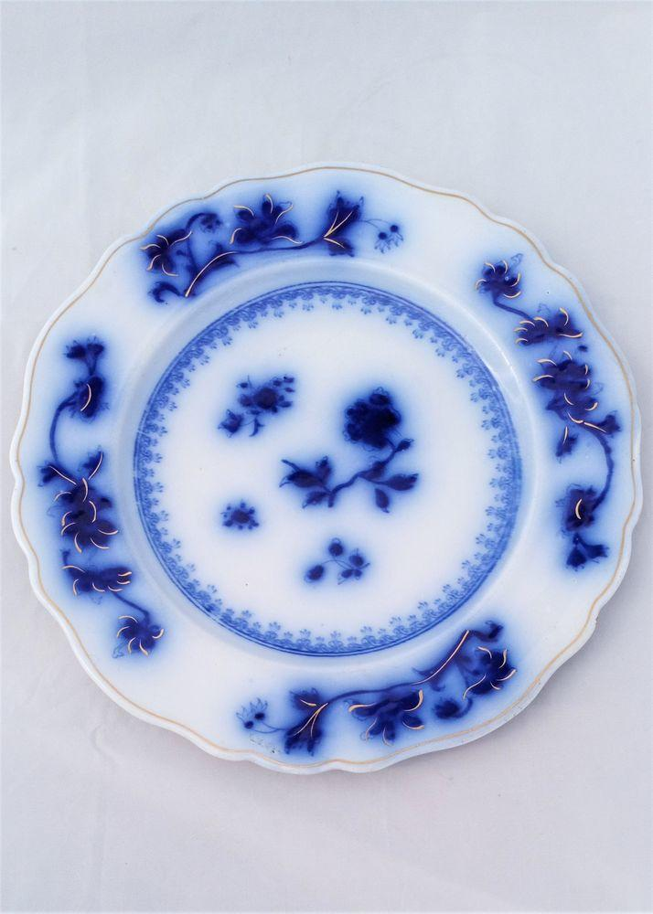 Chamberlains Worcester Porcelain Flow Blue Dinner Plate Antique Victorian c 1850