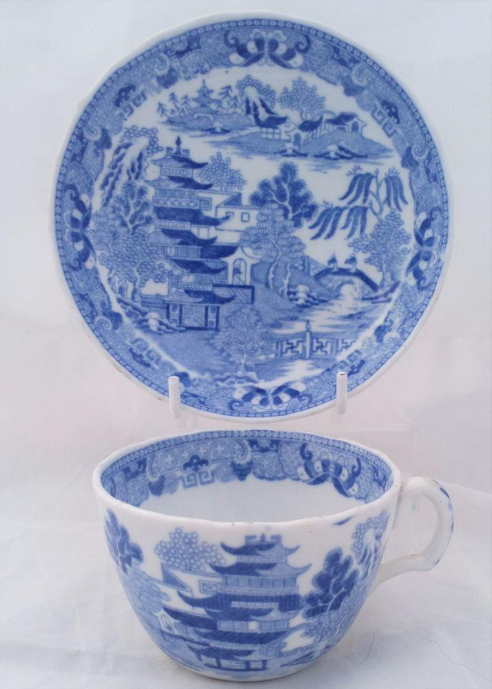 Bute Shape Porcelain Cup and Saucer Blue and White Broseley Pattern Miles Mason type c 1810