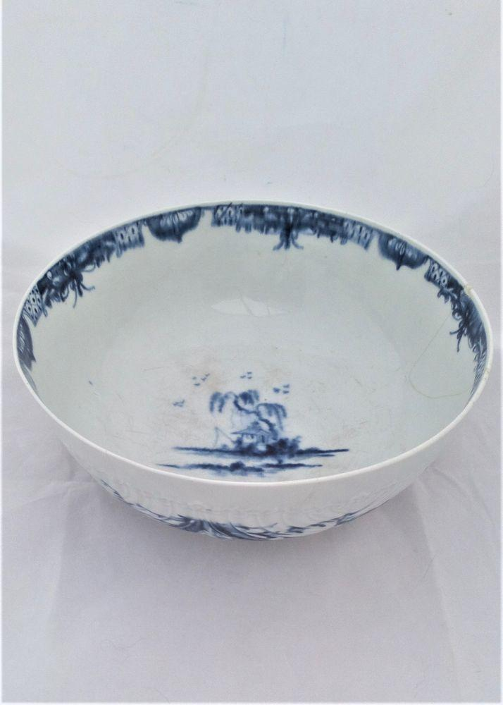 Worcester Porcelain Dr Wall Period Feather Moulded Floral Punch Bowl 23cm 1760