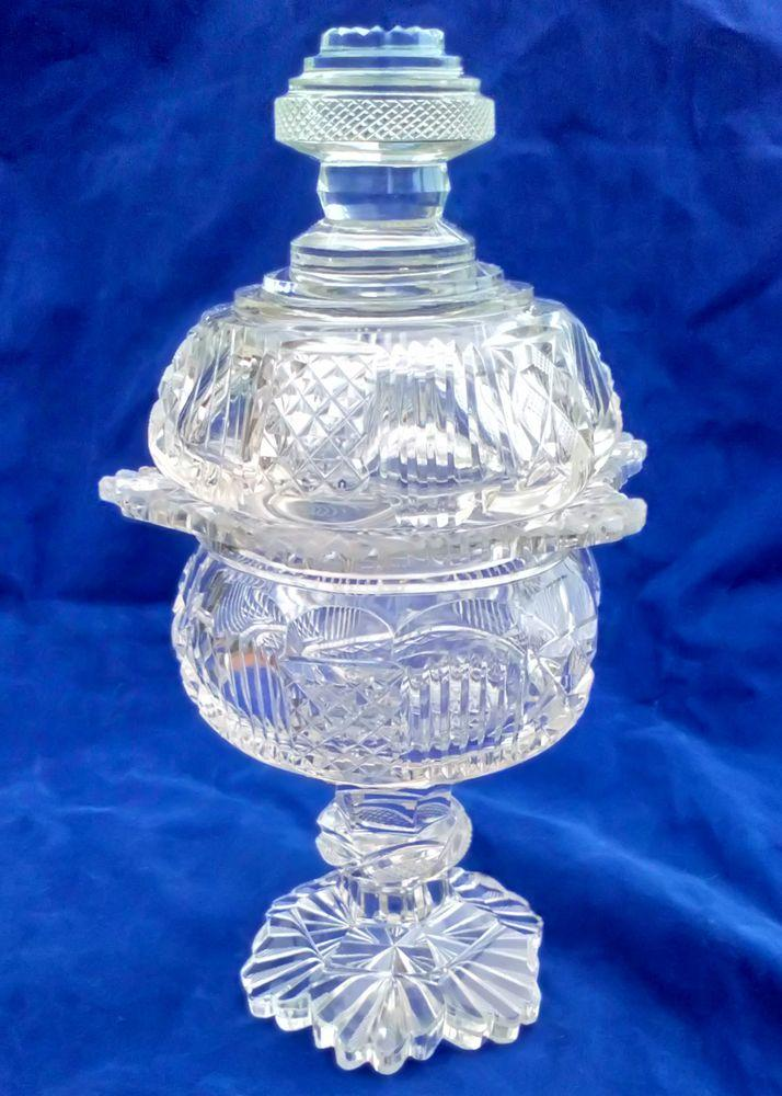 Cut Glass Lidded Sweetmeat Dish Scalloped Rim Faceted Pedestal Stem Antique Victorian
