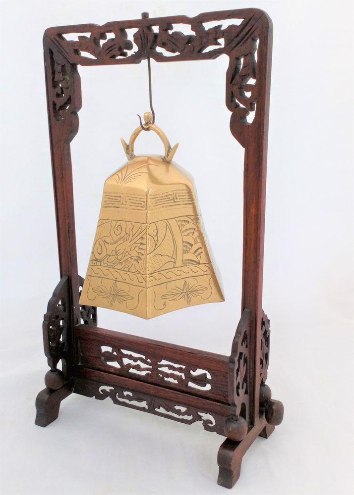 Chinese Brass Temple Bell Gong with Carved Wooden Stand Buddhist Antique c 1910