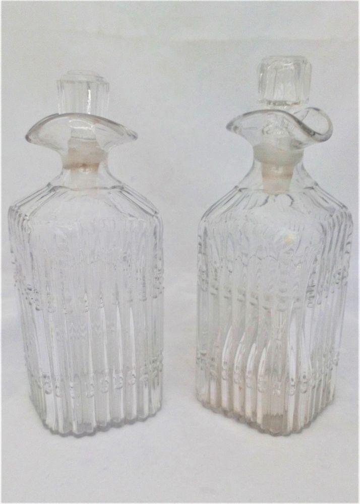 Pair of Georgian Square Cut Irish Glass Pint Decanters Spouted Pouring Lip c 1820