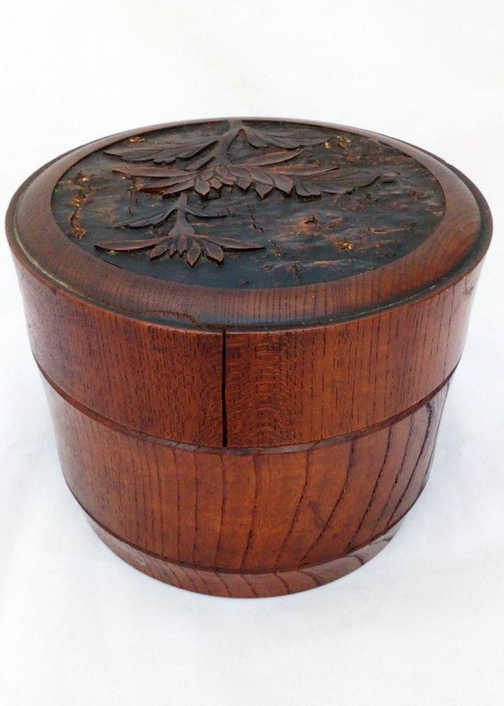 Japanese Turned and Carved Hard Wood Antique Bento Box Late 19thC