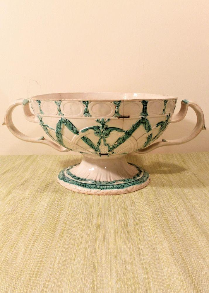 Antique Wedgwood Creamware Footed Twin Handled Orange Bowl or Chestnut Basket Green Prattware circa 1790