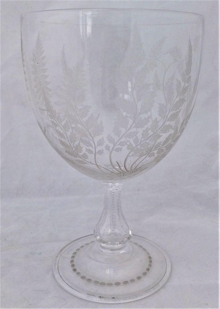 Antique Venetian Style Glass Goblet Cut and Engraved Ferns Arts and Crafts circa 1860