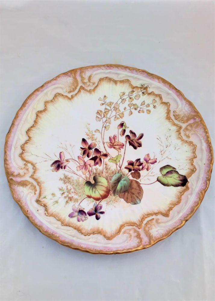 Antique Wiltshaw and Robinson registered design dessert plate with a floral pattern and embossed ornate low relief ornamentation design registered 1895