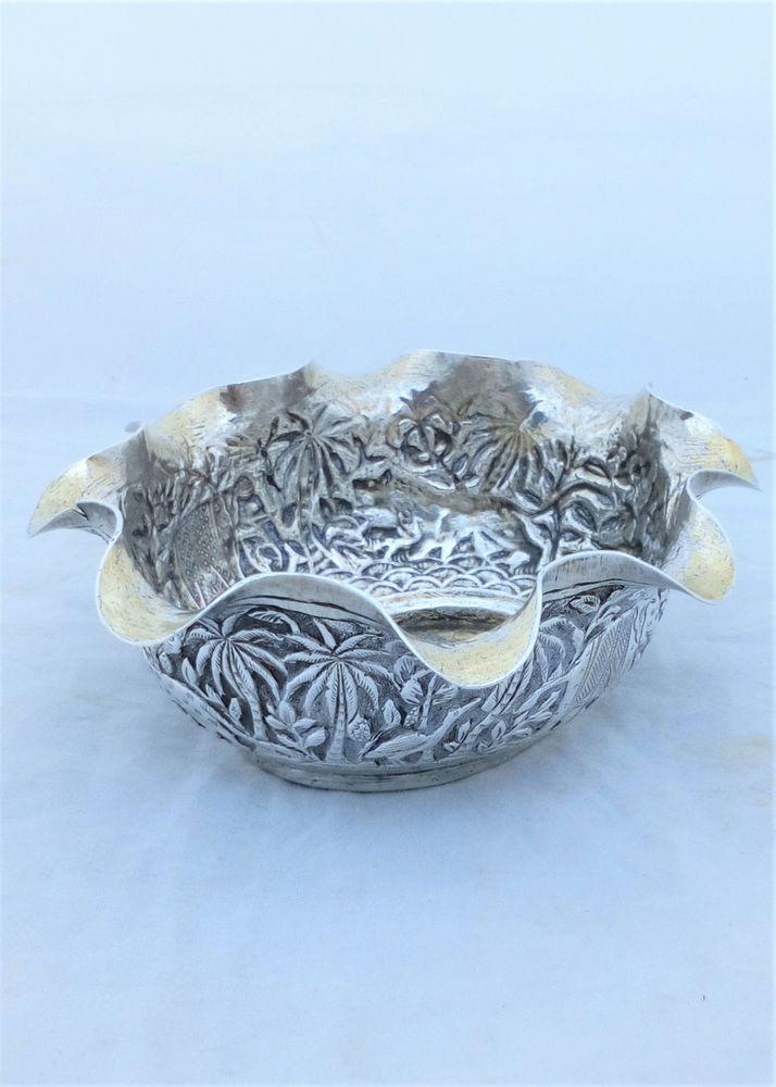 Antique Indian Lucknow Silver Repousse Chased Dish Animals marked Elephant Smith circa 1890