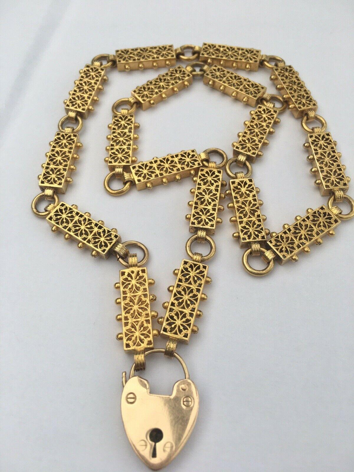 Antique Victorian 15ct Gold Locket Book Chain Necklace Padlock Etruscan Revival
