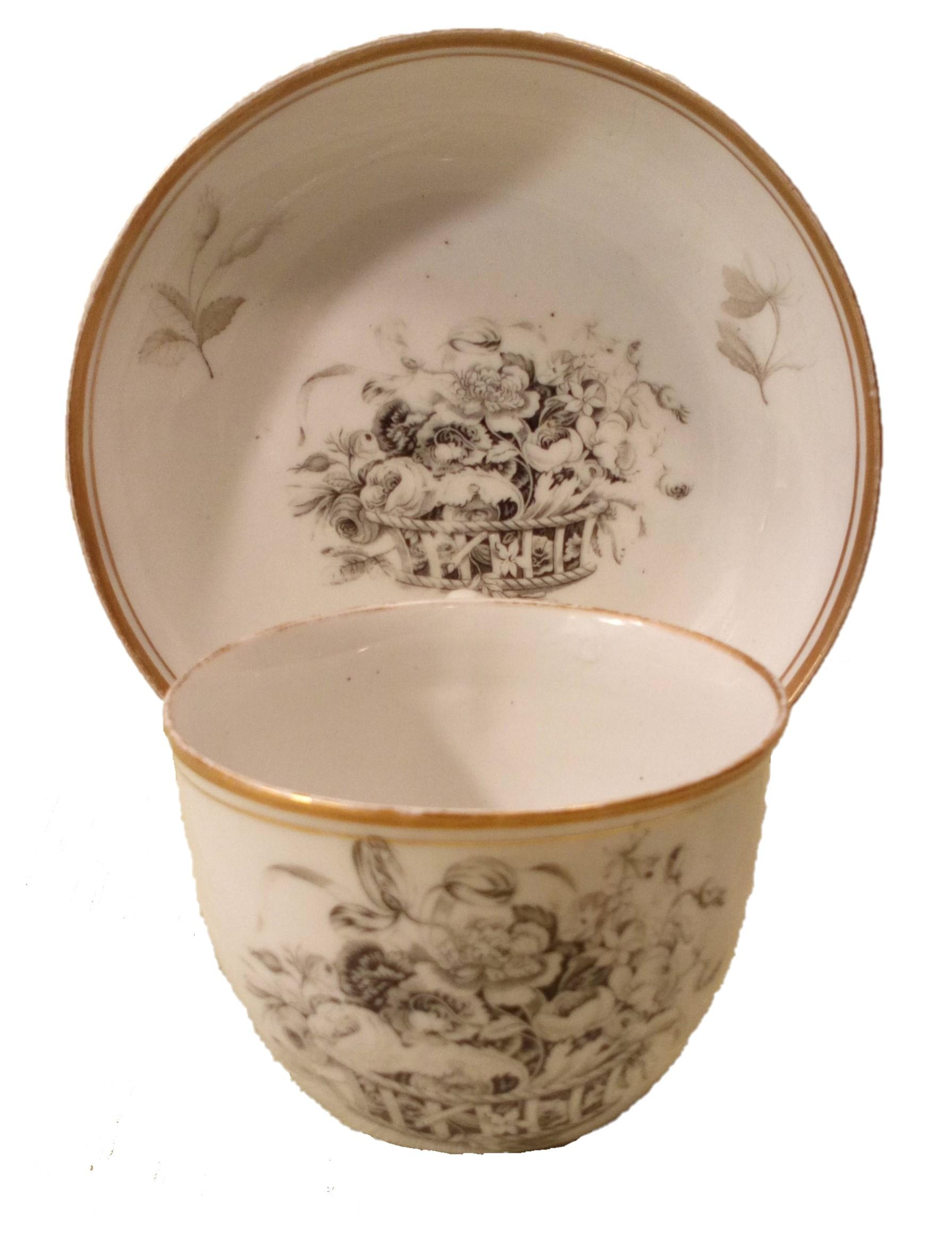 New Hall Hard Paste Porcelain Bute Shaped Cup and Saucer Bat Printed Floral Basket Pattern circa 1810