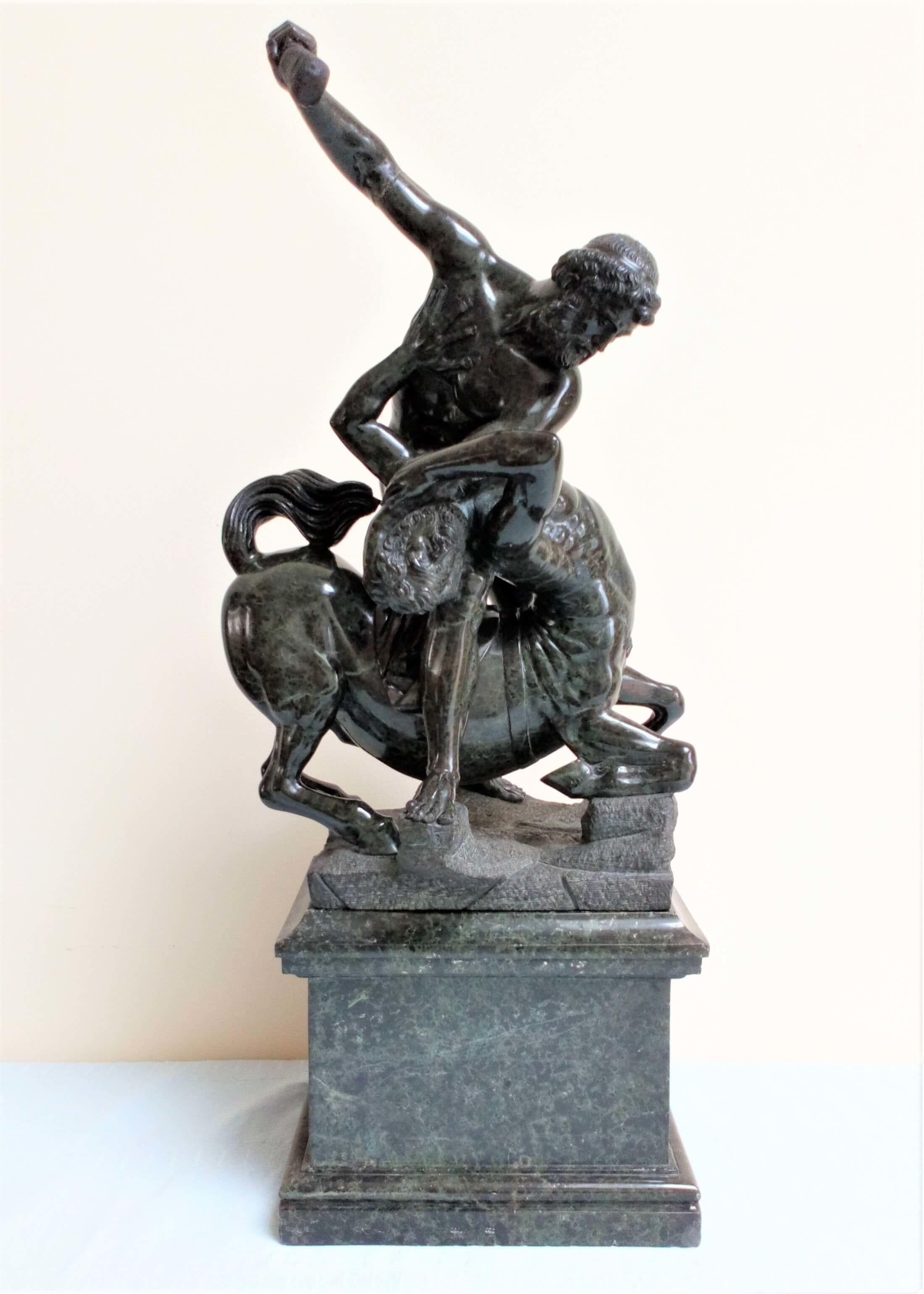 Antique 19th C Grand Tour serpentine sculpture depicting Hercules and Nessus the Centaur after the original by Giambologna 63cm