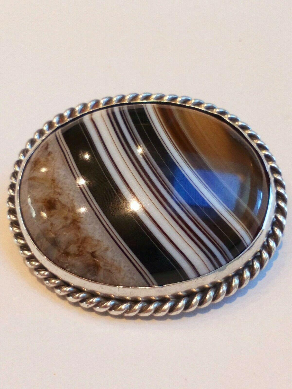 Antique Victorian Scottish Banded Agate Large Specimen Brooch Silver Mount c 1880