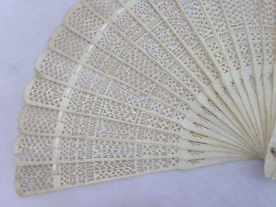 Chinese Hand Carved Pierced Bovine Bone Ladies Hand Fan Intricate Design Antique