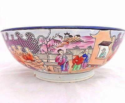 "Antique Pearlware Bowl Punch Bowl Boy In The Window Pattern c 1800 11"" Diameter"