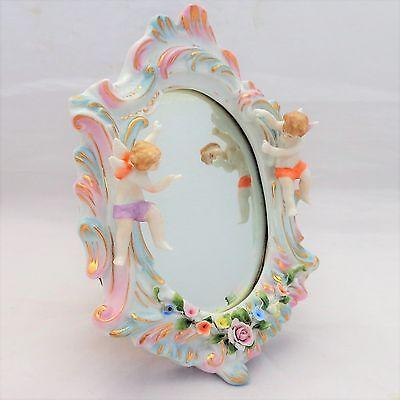 Antique Sitzendorf Mirror Cherubs Voigt Bros Porcelain Rococo Wooden Back c 1880