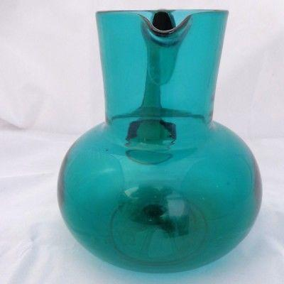 Antique Victorian Bristol Green Glass Water Jug Hand Blown 6.5 inches c 1880