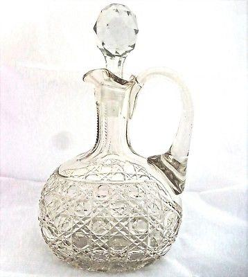 Antique Victorian Cut Glass Claret Jug Hobnail Cut with Faceted Stopper ca 1880