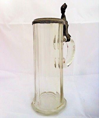Antique Victorian Lidded Cut Glass Beer Stein 0.5l Pewter Handle and Rim c 1880