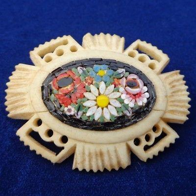 Antique Victorian Micro Mosaic and Carved Bovine Bone Brooch Pin Flowers c 1890