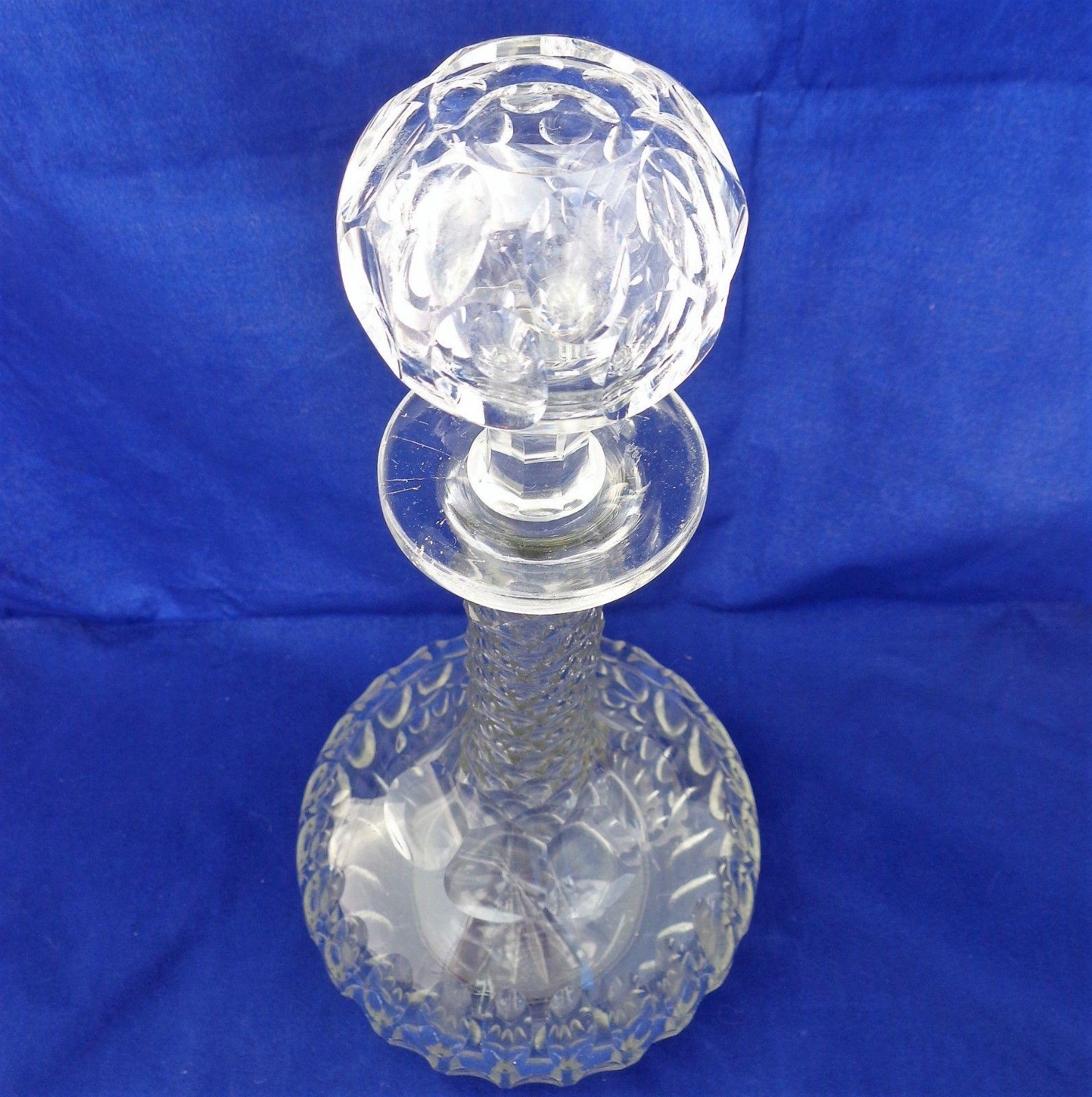 Antique Victorian Cut Glass Shaft and Globe Decanter with Faceted Stem c 1880