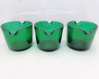 Set 3 Antique Georgian Green Glass Bucket Shaped Twin Lipped Wine Glass Rinsers