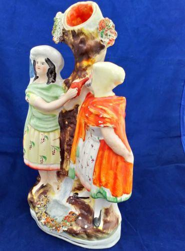 Antique Staffordshire Figural Group Spill Vase Rebekah Abraham's Servant c 1870