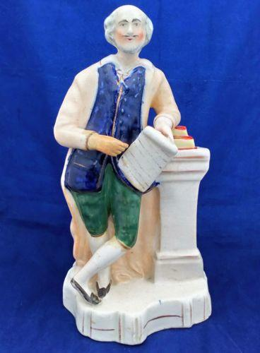 Antique Victorian Staffordshire Figure of Shakespeare Shaped Base c 1860