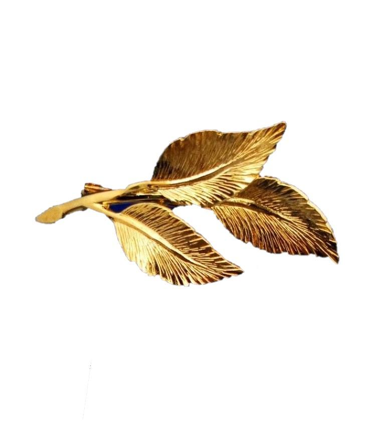 9ct Yellow Gold Brooch Leaf Shape HM London Import 1986 Vintage  2.3g