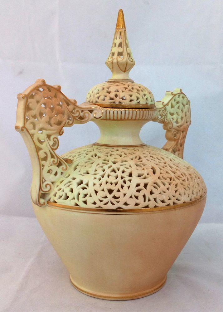 Grainger & Co Worcester Porcelain Reticulated Vase Blush Ivory Lid Antique dated 1897