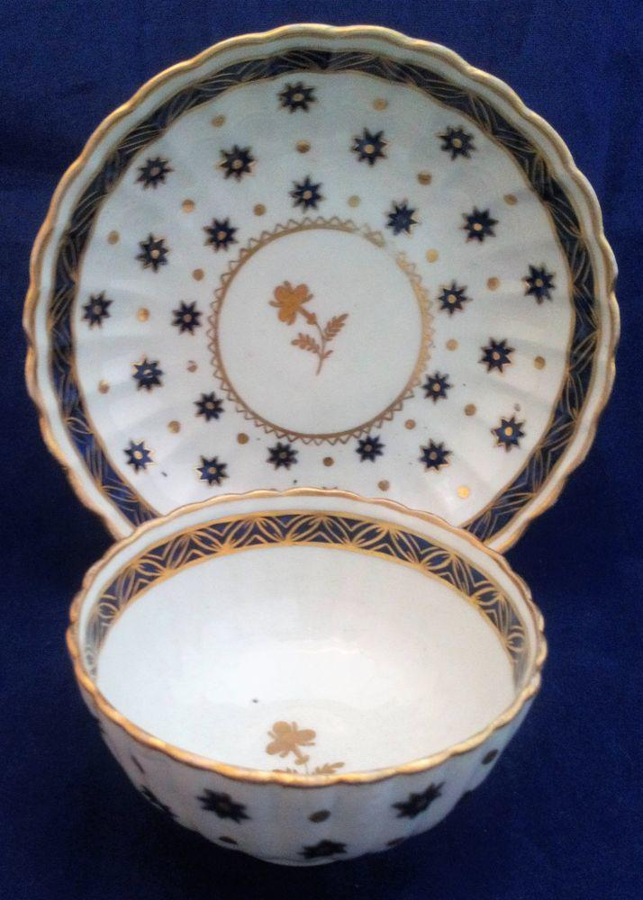 Chamberlains Worcester Porcelain Gilded Star Pattern Tea Bowl & Saucer ca 1790