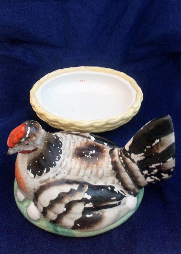 Staffordshire Pottery Chicken Egg Crock Hen on Nest Antique c 1860