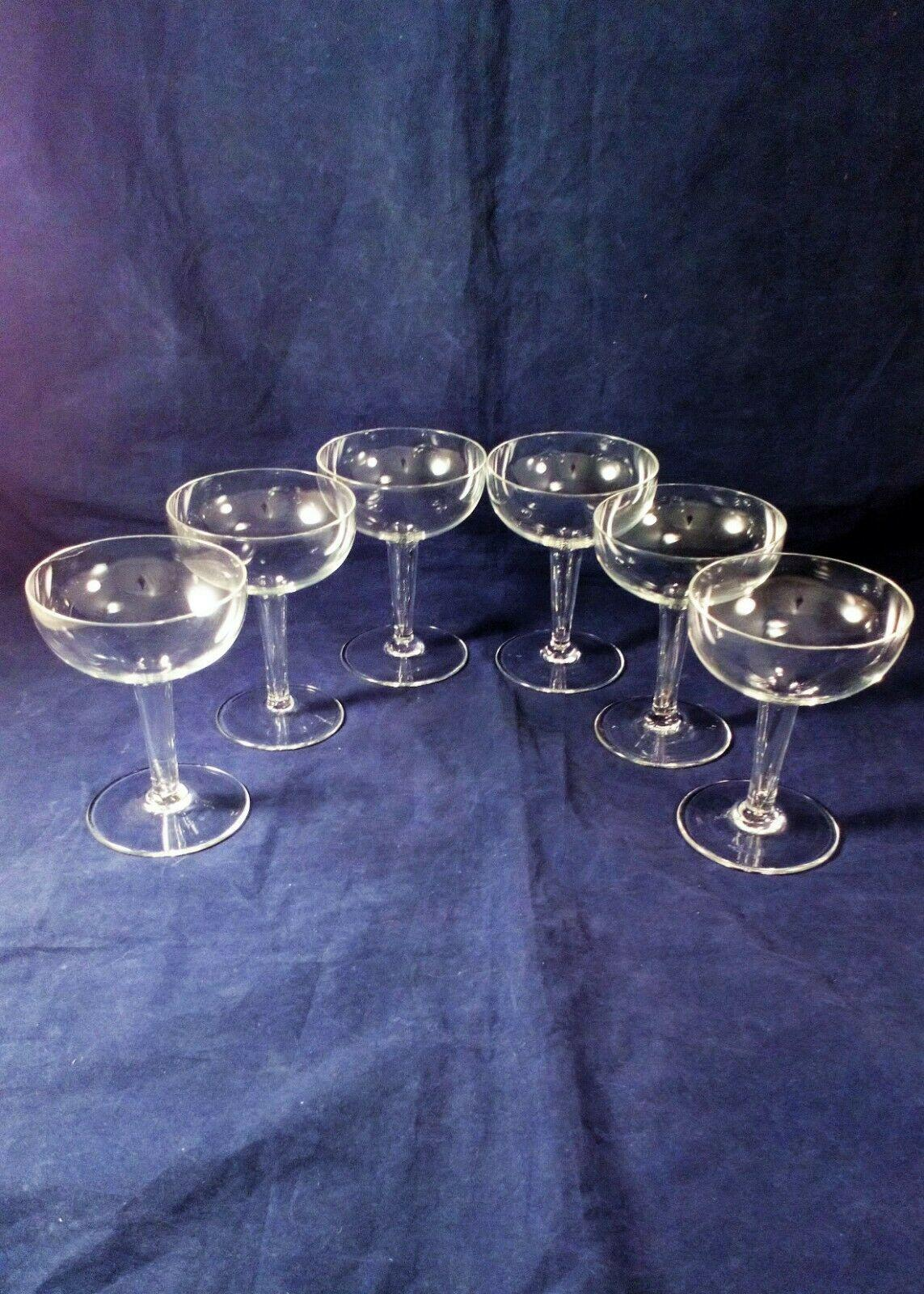 Vintage Set 6 Crystal Glass Champagne Coupes Or Saucers Hollow Stems Art Deco