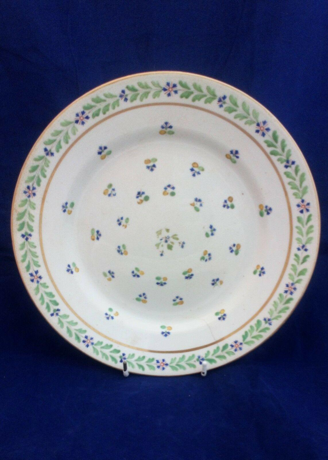 Georgian Derby Porcelain Plate Hand Painted Blue Flowers Pattern number 57 Antique c 1800