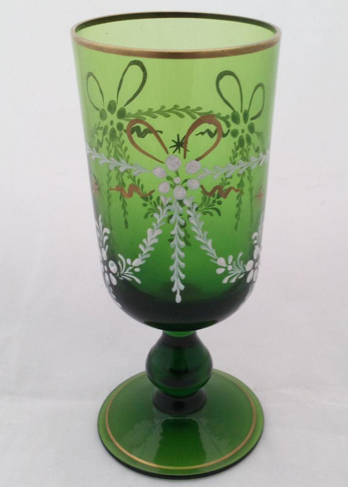 Bristol Green Small Ale Glass White Enamel Gilding Antique Victorian c 1880