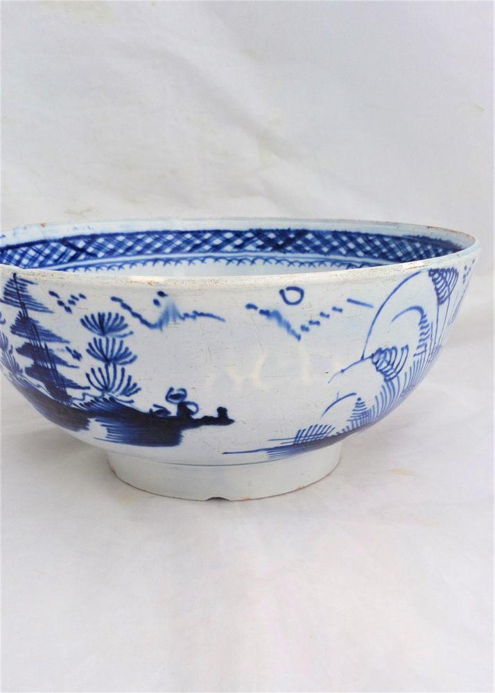 Pearlware Punch Bowl Blue and White Pagoda and Fence Pattern Antique c 1790