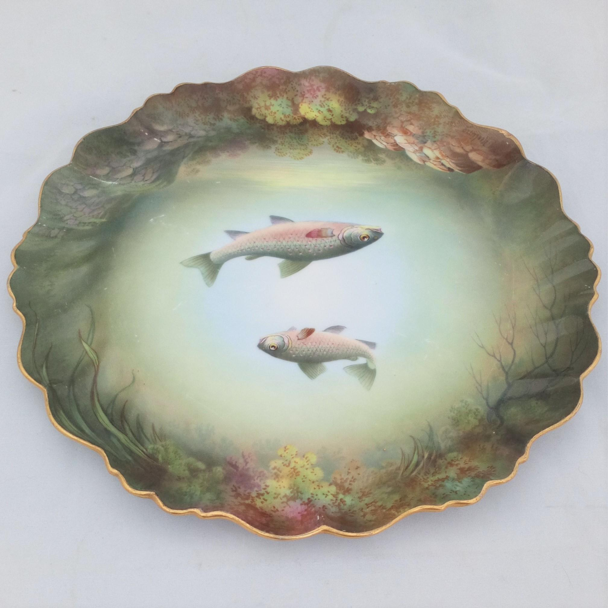 Antique Hand Painted Paragon China Plate Windermere Char Fish R.J Keeling c 1905