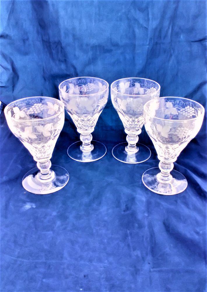 Set 4 Rummer Glasses Vine Engraved Facet Cut Bowl Ball Knop Edwardian c 1910