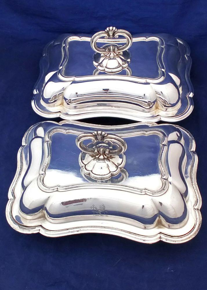 Georgian Pair Old Sheffield Plate Entree Dishes John Green and Co Antique c 1820