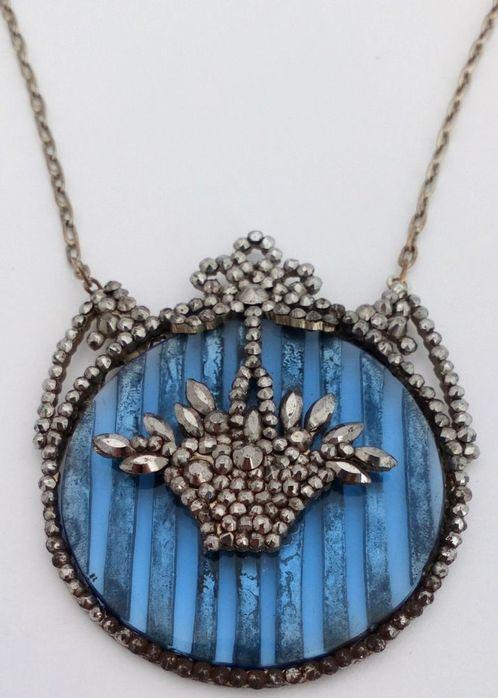 Regency Cut Steel Pendant Necklace Blue Glass Back Basket Design Antique c 1820