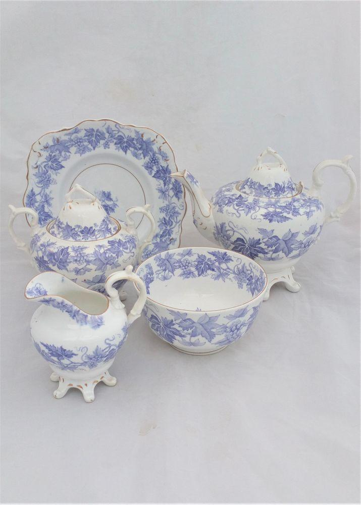 Antique English Bone China Pear Shaped Tea Service Printed Grape Vine Lilac c 1855