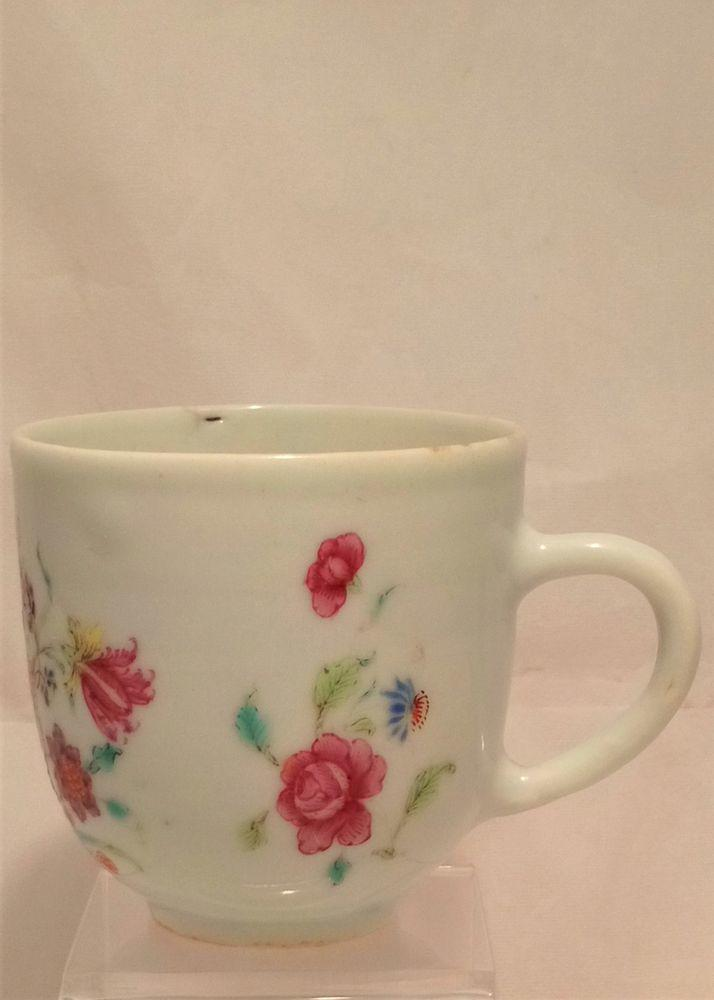Chinese Export Porcelain Coffee Cup Beautiful Floral Spray Antique c 1750