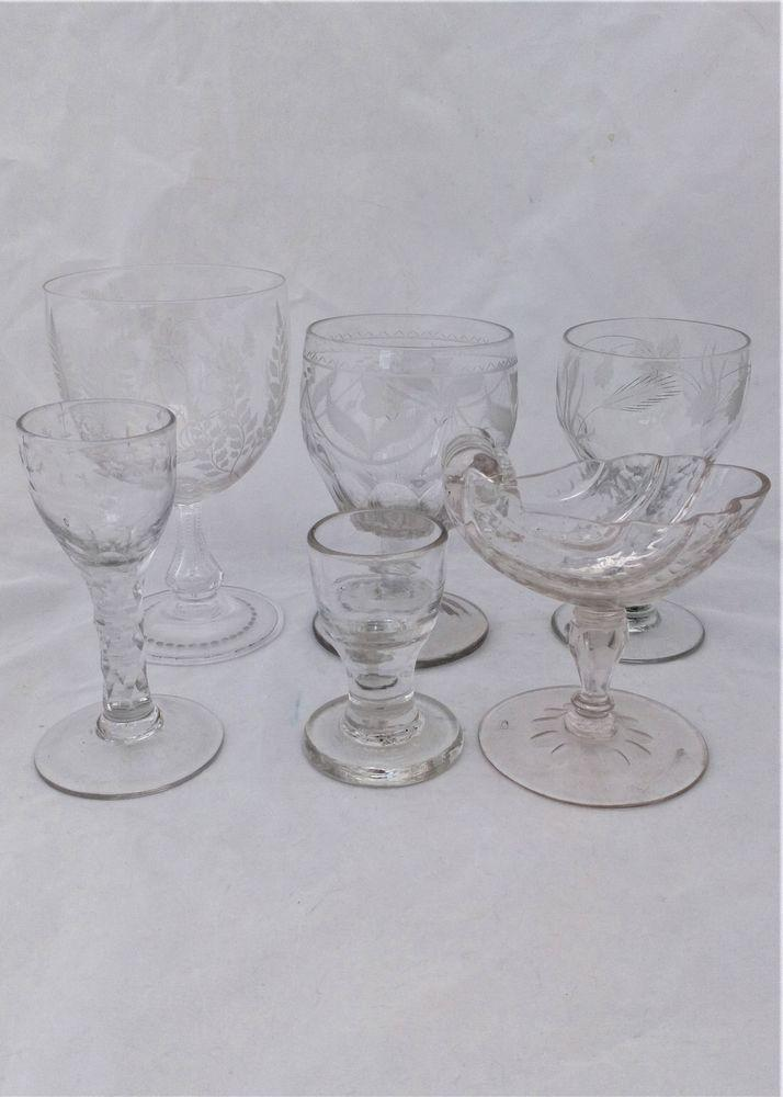 Antique Venetian Style Glass Goblet Cut and Engraved Ferns Arts and Crafts circa 1860. This glass along with the others, which are being sold separately, shown in one of the images are a part of our personal collection that we have listed for sale.