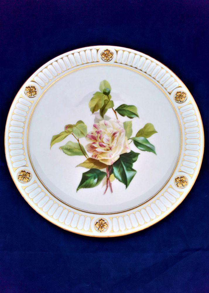 Antique Brown Westhead and Moore Painted Rose Porcelain Dessert Plate circa 1865
