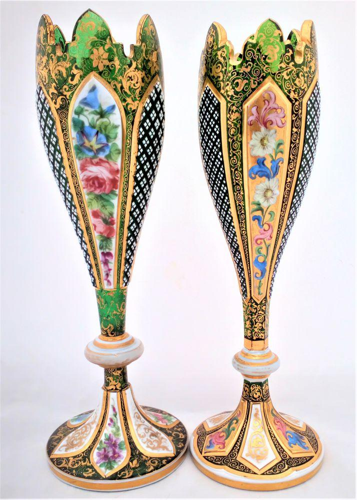 An Antique Bohemian Cut Green Glass Vase with Petal Shaped Overlay Panels that are Cut Enamelled and Gilded made by Josephinehutte in Schreiberhau Silesia circa 1865