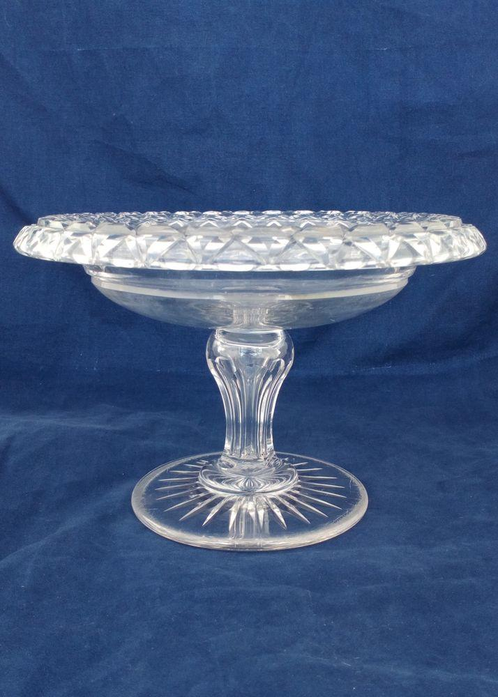 Antique Victorian Turn Over Rim Cut Glass Bowl Comport Compote or Tazza Round Star Cut Foot Hollow Inverted Baluster Facet Cut Stem circa 1850